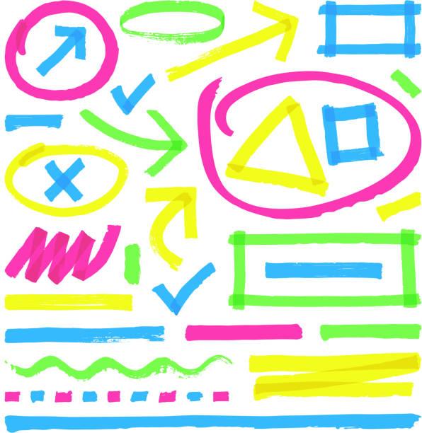 Highlighter vector marks. Color marker stripes, strokes and arrows vector art illustration
