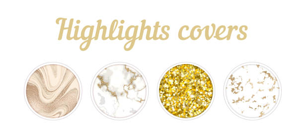 Highlights cover big set, Minimal marble texture background collection, story layout, gold rose frame template, vector badge for shop in social media, luxury design large collection vector art illustration