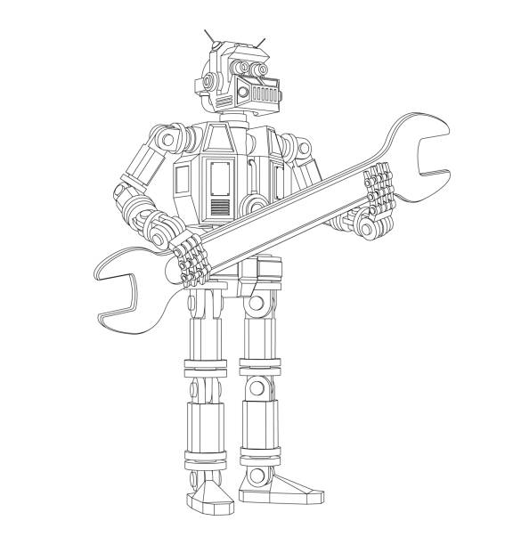 Highly detailed Android robot with a wrench Highly detailed Android robot with a wrench. Pseudo 3d vector outline illustration. transformer stock illustrations