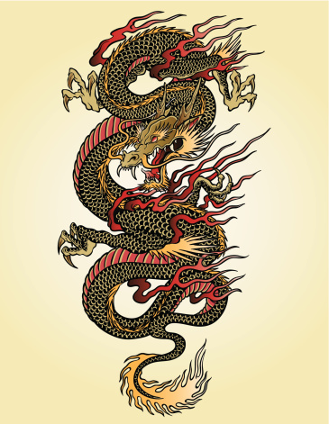 Highly detailed Asian dragon tattoo illustration