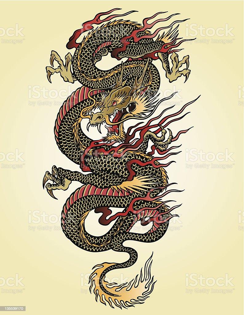 非常に詳細なアジアのドラゴン・タトゥーの女イラストレーション ベクターアートイラスト