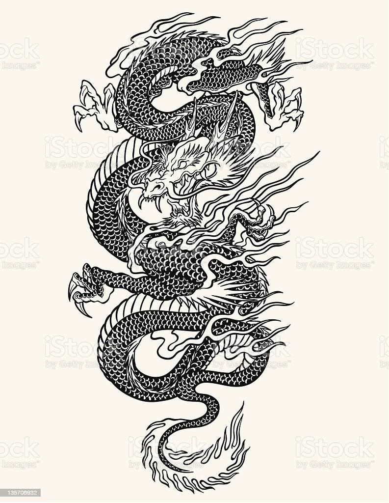 Highly detailed Asian dragon tattoo line-work vector art illustration