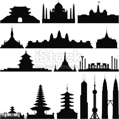 From left to right: Sungnyemun -Namdaemun Gate (Korea), Taj Mahal (India), People's Committee Building (Vietnam), Pha That Luang (Laos), Angkor Wat (Cambodia), Grand Palace (Thailand), Temple of Heaven (China), Shwedagon Paya (Myanmar), Persepolis (Iran), Ulan Danu Bratan Temple (Indonesia), Asakusa Temple (Japan), Bank of China Tower (Hong Kong), Oriental Pearl TV Tower (China), and Twin Towers (Malaysia).