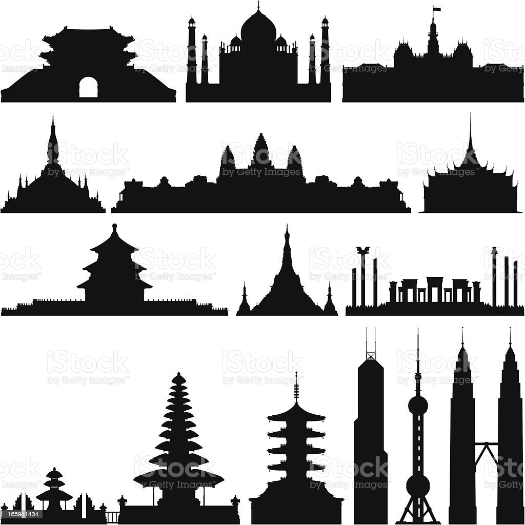 Highly Detailed Asian Monuments vector art illustration
