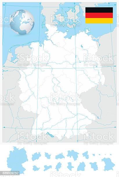 Germania Cartina Fiumi.Altamente Dettagliata Vuoto Sagoma Mappa Di Germania Con I Fiumi Immagini Vettoriali Stock E Altre Immagini Di Affari Istock
