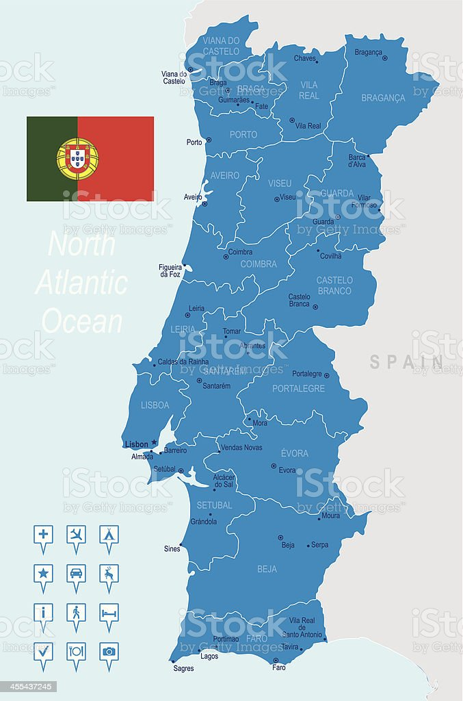 A highly detailed blue map of Portugal vector art illustration