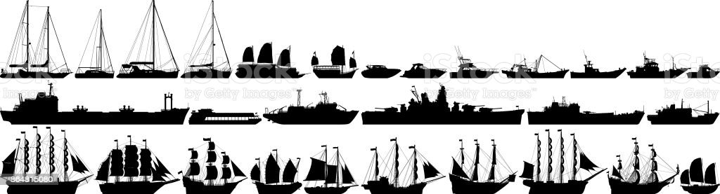 Highly Detailed Boat Silhouettes vector art illustration