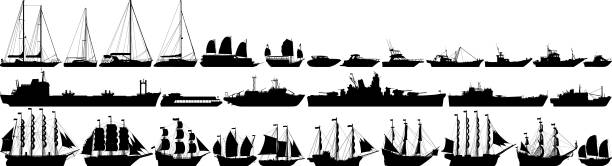 highly detailed boat silhouettes - statek stock illustrations
