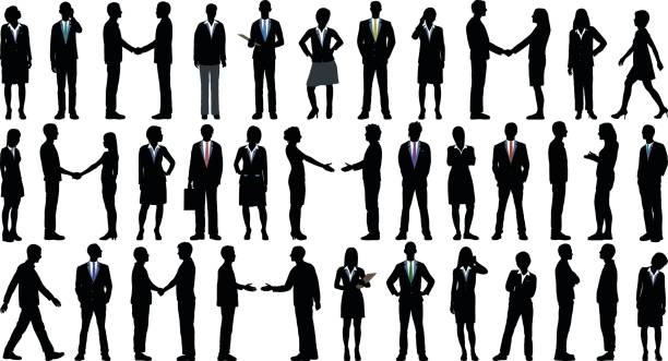 Highly Detailed Business People Highly detailed business people. business silhouettes stock illustrations