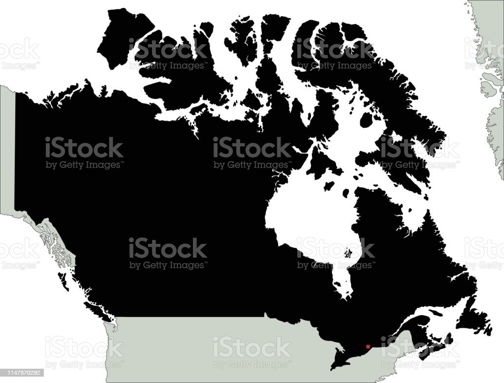 Map Of Canada Silhouette.Highly Detailed Canada Silhouette Map Stock Vector Art More Images
