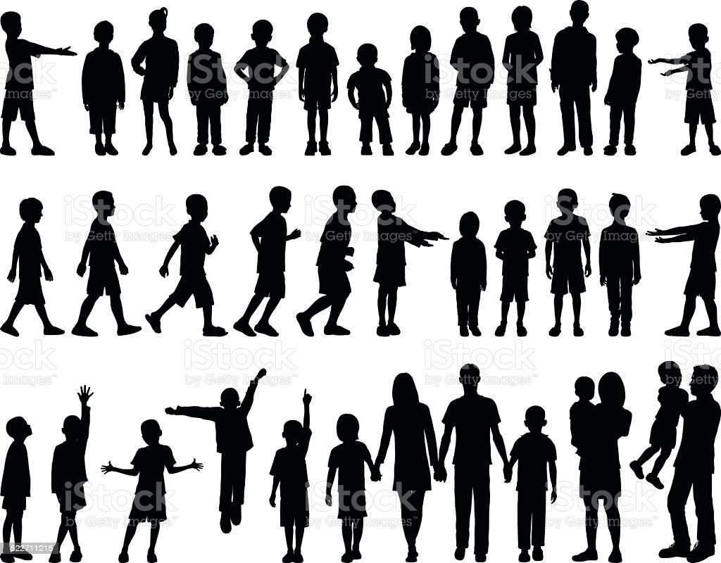 Highly Detailed Children Silhouettes vector art illustration