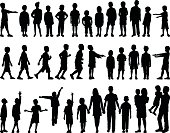 Highly Detailed Children Silhouettes