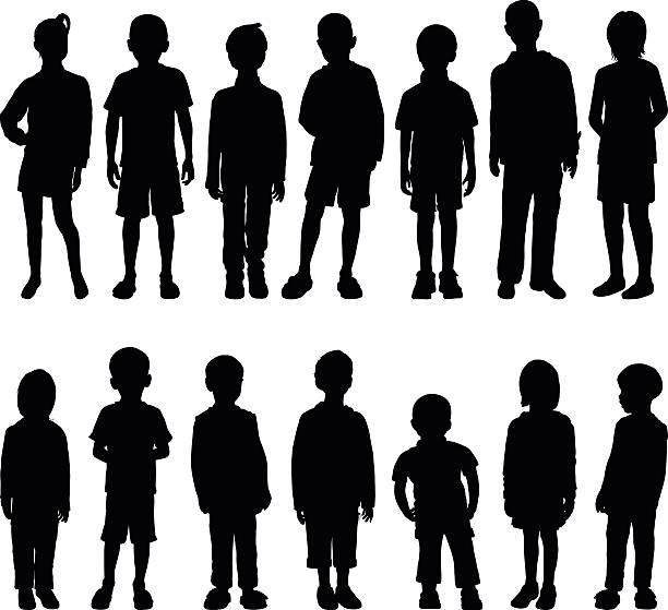 Highly Detailed Children Silhouettes vector art illustration