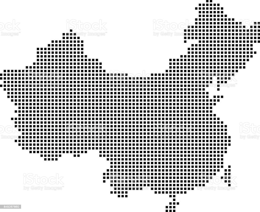 Highly detailed China map dots, dotted China map vector outline, pixelated China map in black and white illustration background vector art illustration