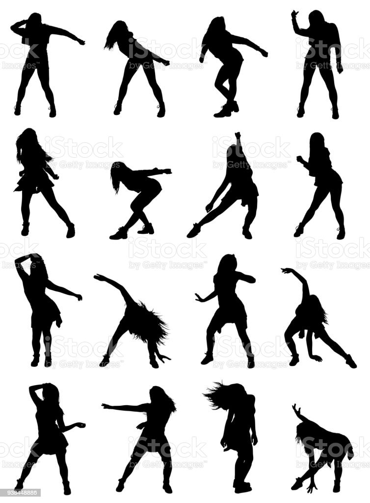 Highly Detailed Collection Of Woman Poses Dancing Jazz Dance Silhouettes Set Stock Illustration Download Image Now Istock