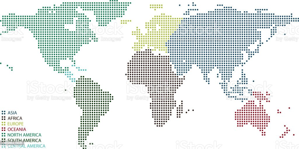 Highly Detailed Colorful World Map Dots Dotted World Map Continents ...