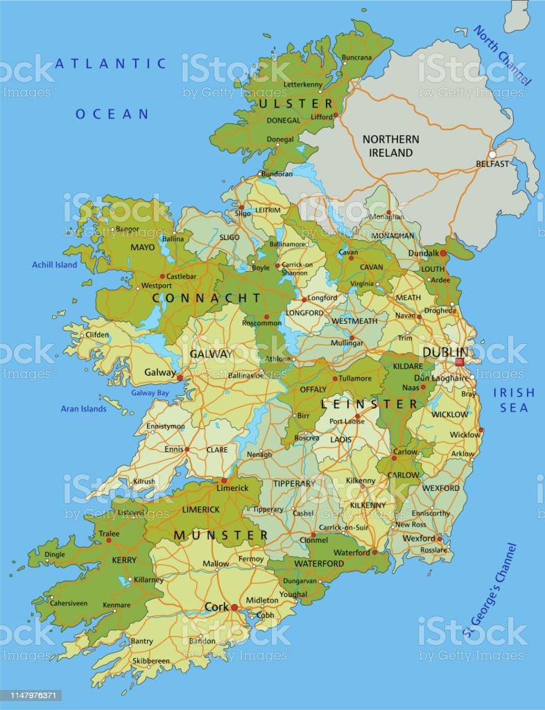 Irland Karte.Hochdetaillierte Bearbeitbare Politische Irlandkarte Mit