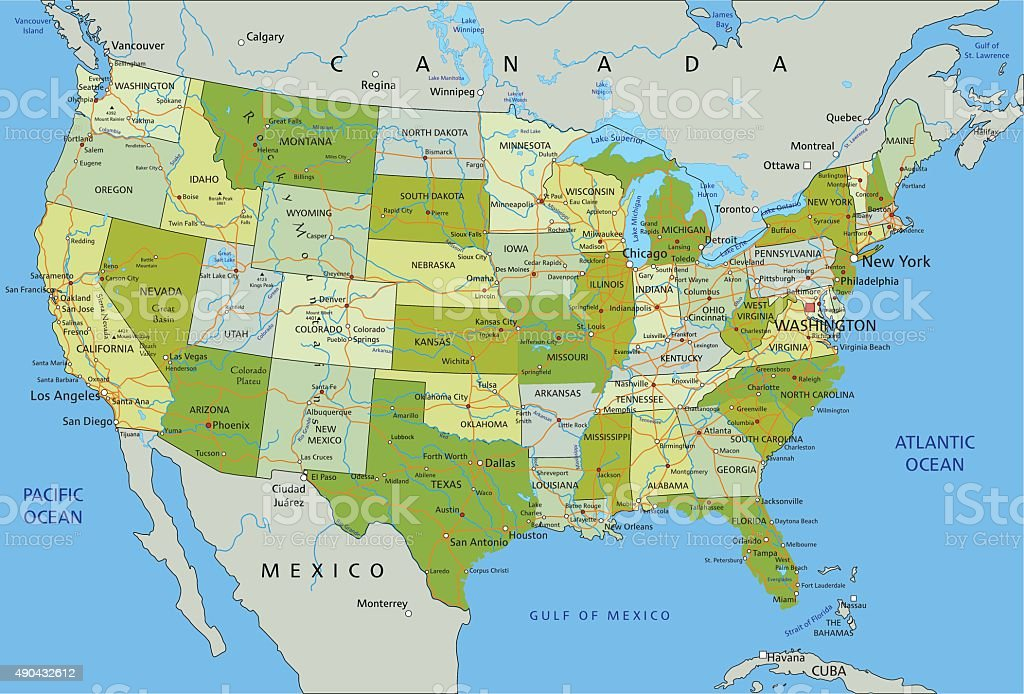 Political Map Of Usa 2015.Highly Detailed Editable Political Map Of United States Of America