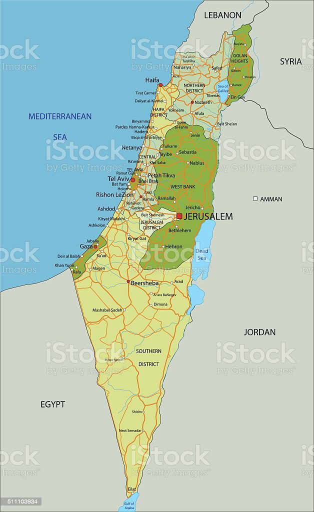 Highly detailed editable political map with separated layers. Israel. vector art illustration