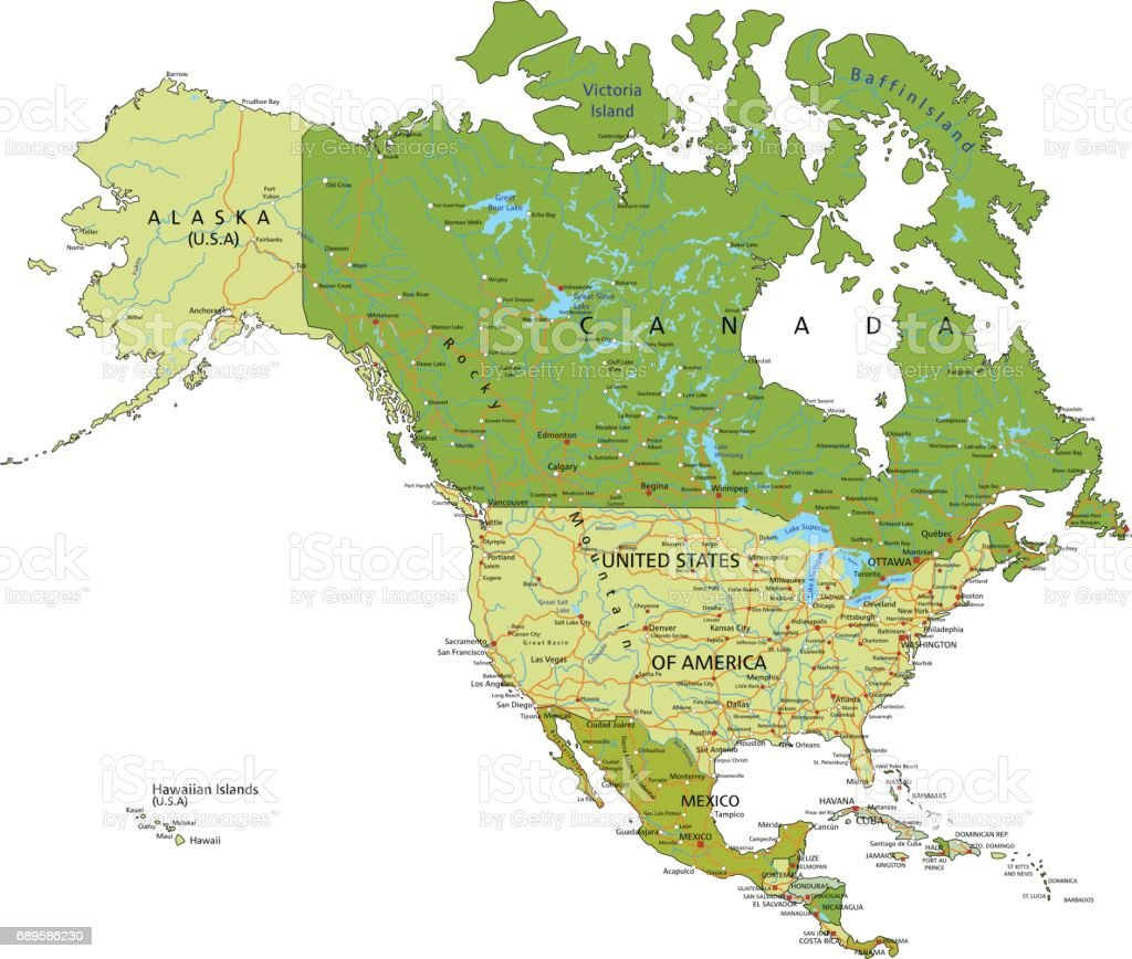 Highly Detailed Editable Political Map With Separated Layers North ...
