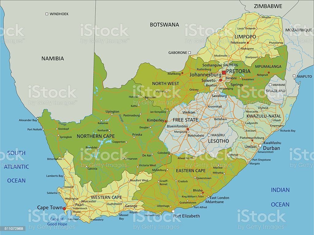 Highly detailed editable political map with separated layers. South Africa. vector art illustration