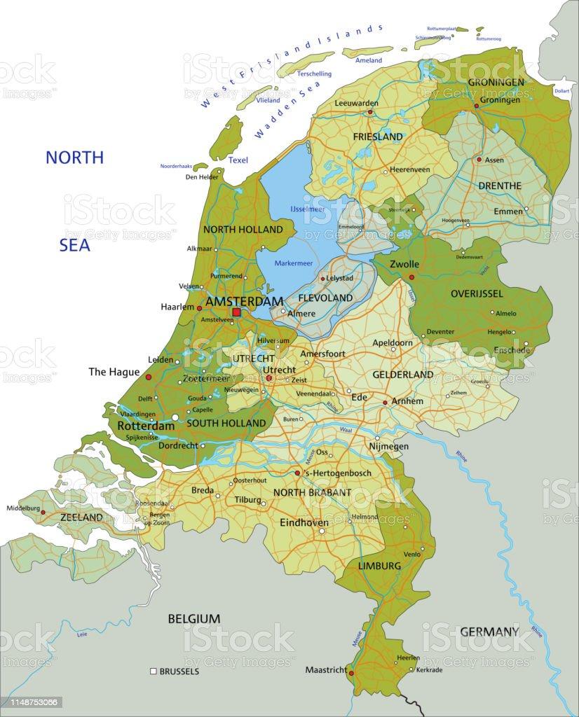 Highly Detailed Editable Political Netherlands Map Stock Vector Art ...