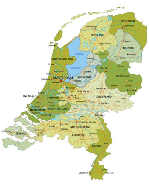 stockillustraties, clipart, cartoons en iconen met zeer gedetailleerde bewerkbare politieke kaart van nederland. - eindhoven