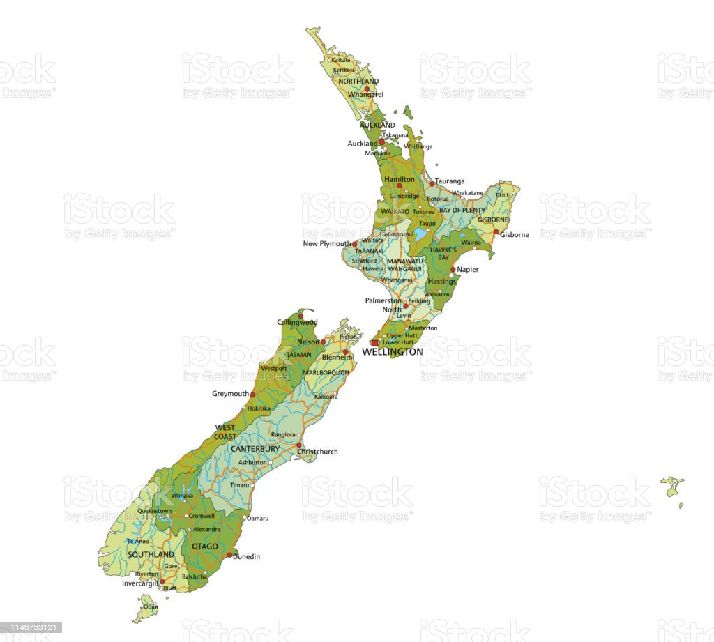 Map Of Cromwell New Zealand.Highly Detailed Editable Political New Zealand Map With Separated