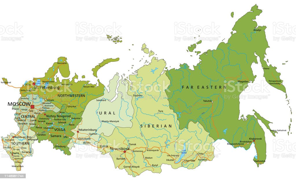 Highly Detailed Editable Political Russia Map With Separated Layers Stock  Illustration - Download Image Now