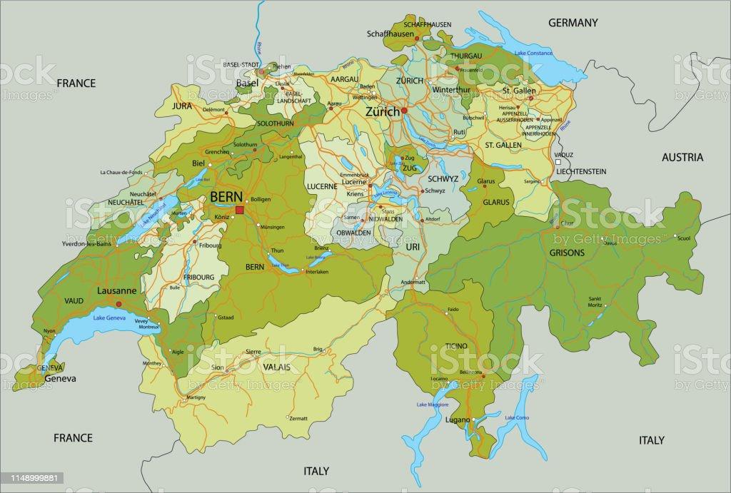 Mapa Politico De Suiza.Ilustracion De Mapa Politico De Suiza Altamente Detallado Y