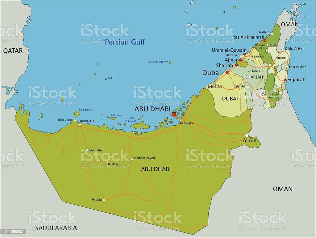 Altamente detallada editable mapa político de los Emiratos Árabes Unidos. - ilustración de arte vectorial