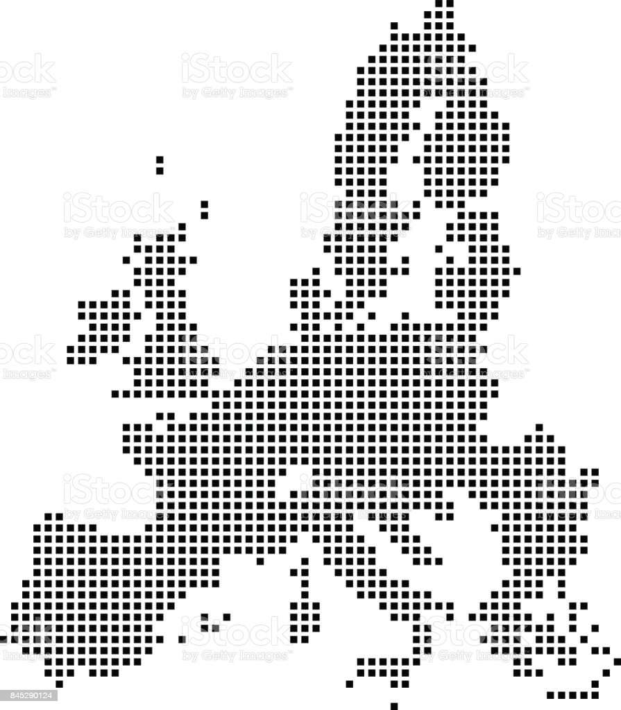 Highly Detailed European Union Map Dots Dotted European Union Map ...