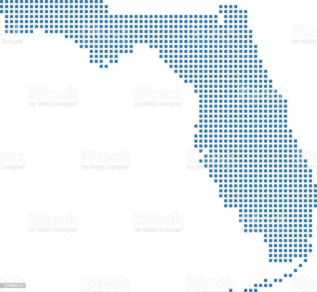 Highly Detailed Florida Map Dots Dotted Florida State Of Usa Map