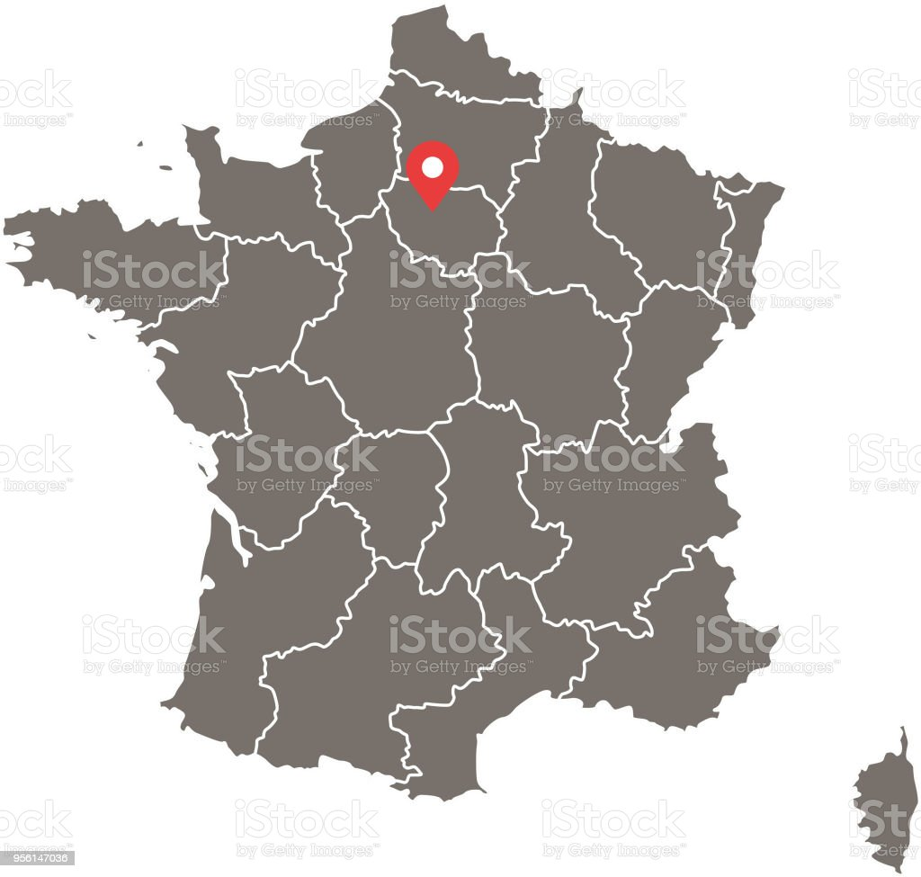 Map Of France Provinces.Highly Detailed France Map Vector Outlines Illustration With