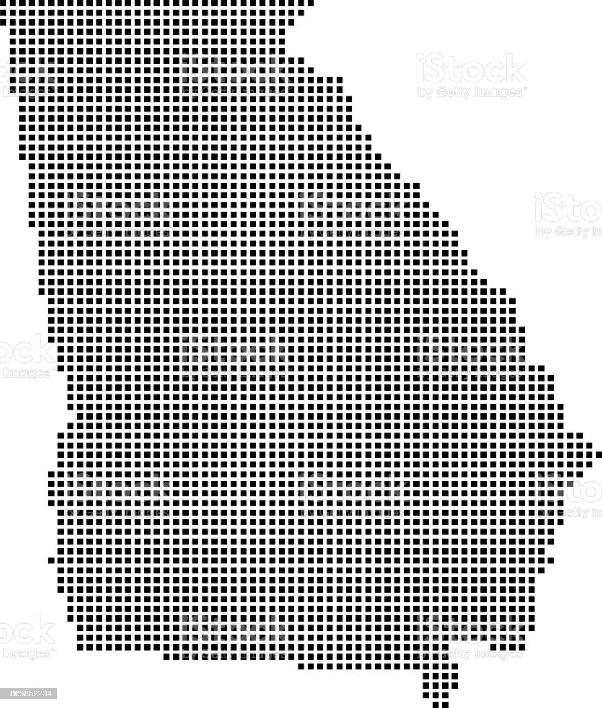 Highly Detailed Georgia Map Dots Dotted Georgia State Of Usa Map ...