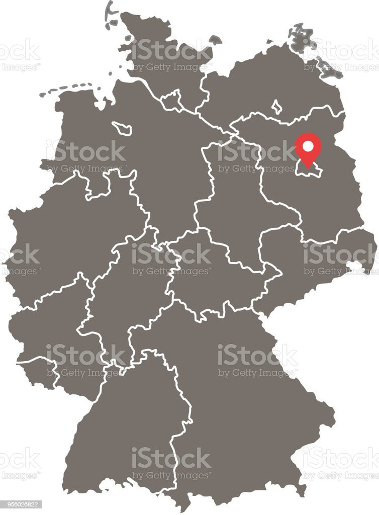Capital Of Germany Map.Highly Detailed Germany Map Vector Outline Illustration With