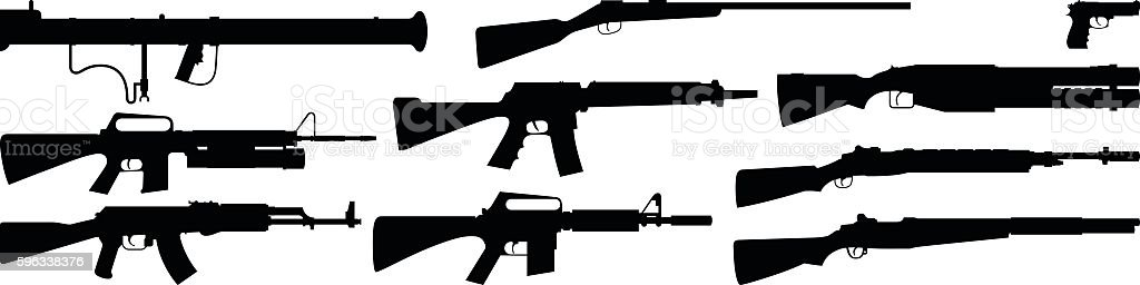 Highly Detailed Gun Silhouettes royalty-free highly detailed gun silhouettes stock vector art & more images of ak-47