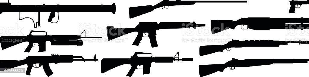 Highly Detailed Gun Silhouettes ベクターアートイラスト
