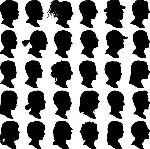 Highly Detailed Head Profile Silhouettes vector art illustration