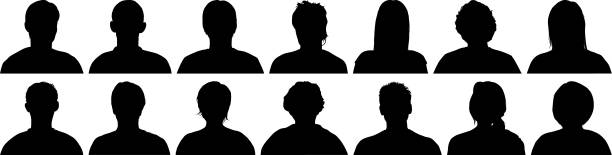 Highly Detailed Heads Highly detailed head silhouettes. in silhouette stock illustrations
