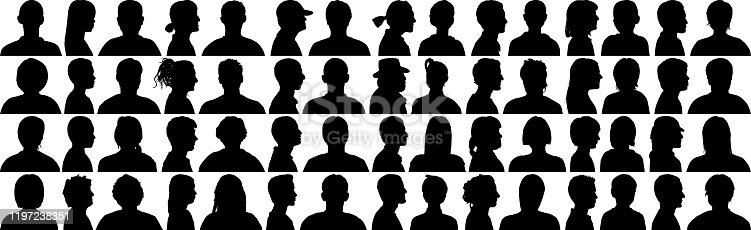 Highly detailed head silhouettes.