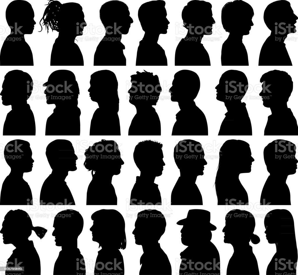 Highly Detailed Heads vector art illustration