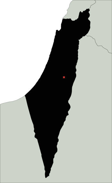 hochdetaillierte israel-silhouette-karte. - haifa stock-grafiken, -clipart, -cartoons und -symbole