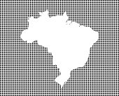 Highly detailed map of Brazil on dotted background. Brazil map vector outline cartography. Brazil map with included states borders in black and white pixelated background