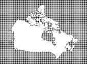 Highly detailed map of Canada on dotted background. Canada map vector outline cartography. Canada map with included provinces borders in black and white pixelated background