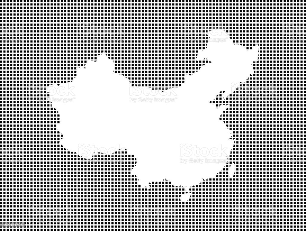 Highly detailed map of China on dotted background, China map vector outline cartography, China map with included provinces borders in black and white pixelated background vector art illustration