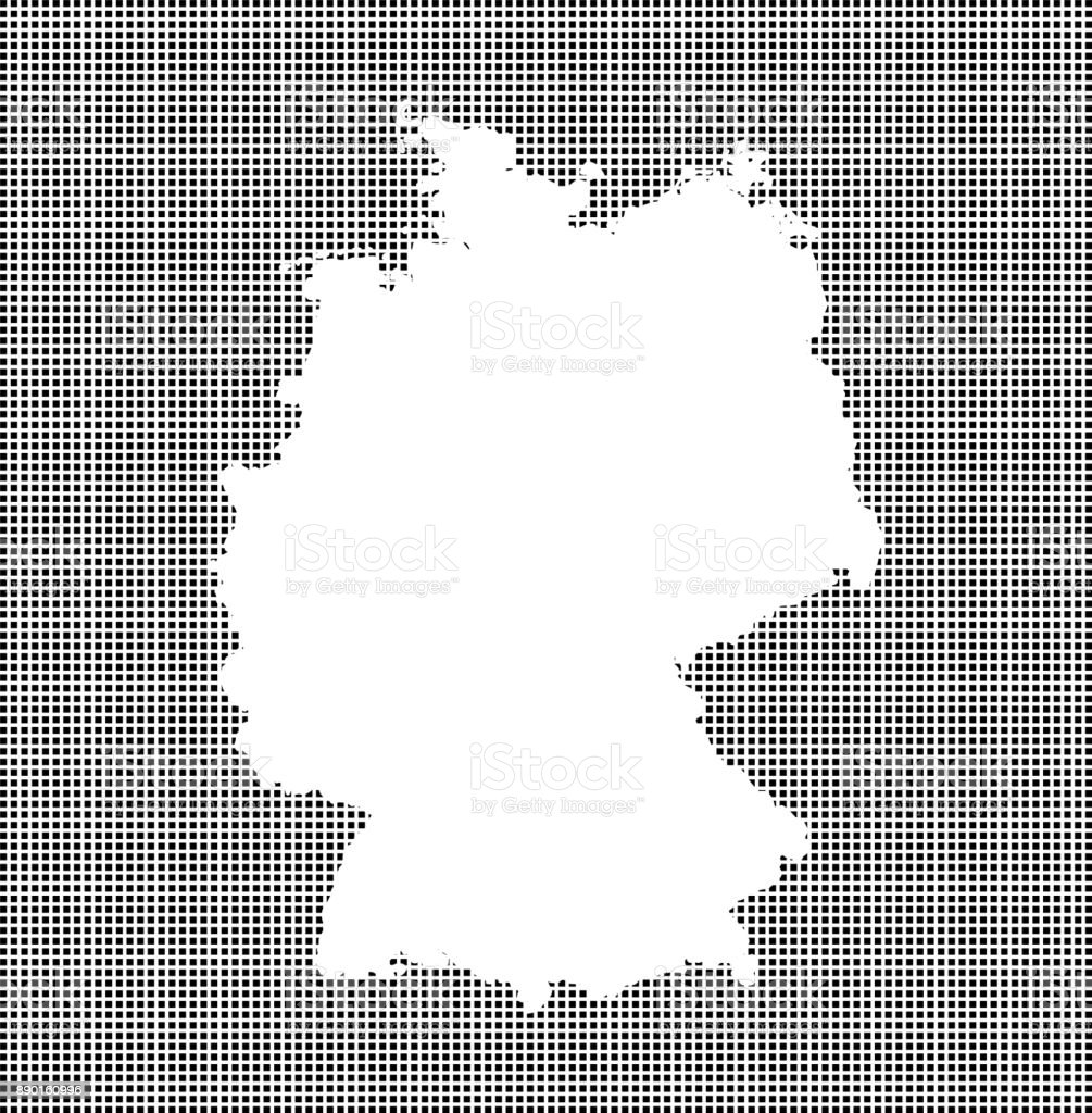 Highly detailed map of Germany on dotted background, Germany map vector outline cartography, Germany map with included provinces borders in black and white pixelated background vector art illustration