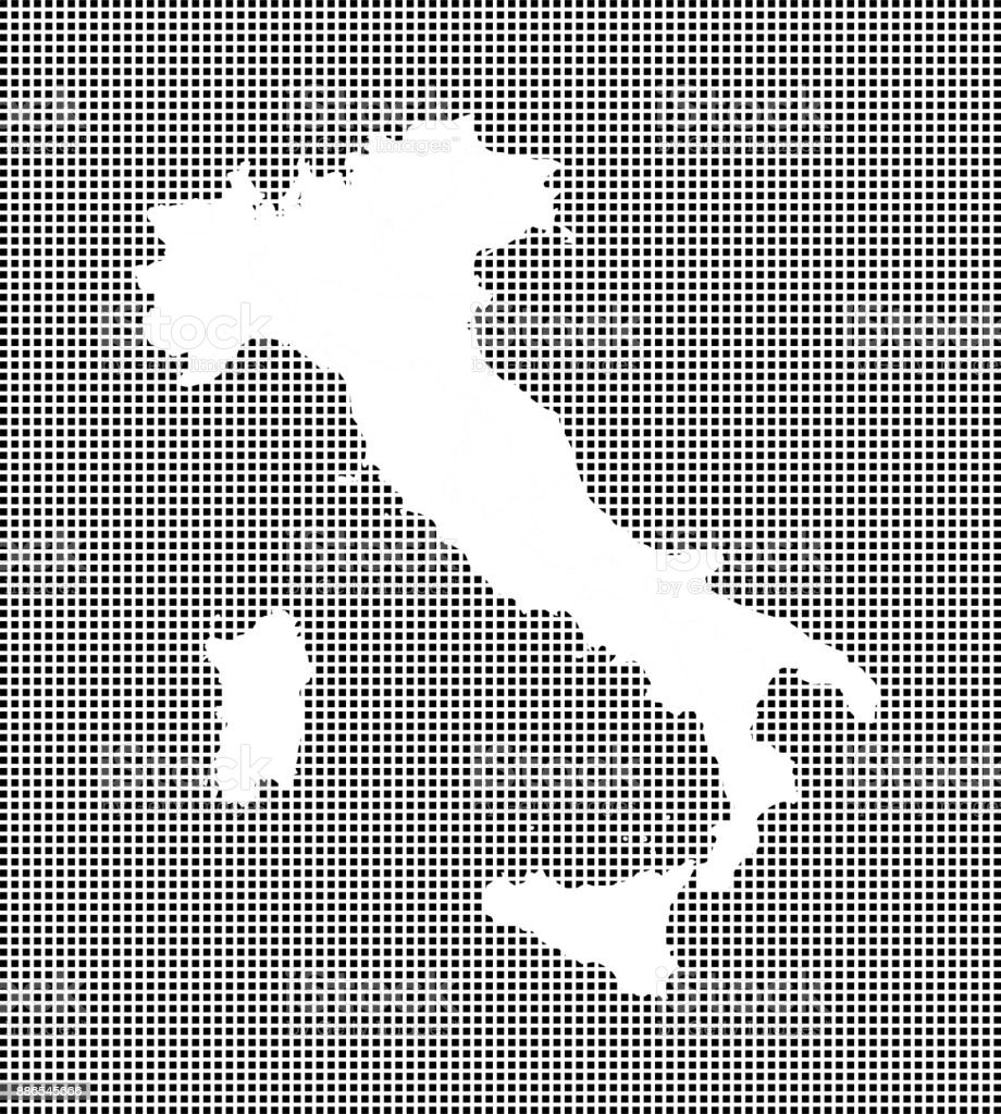 Highly Detailed Map Of Italy On Dotted Background Italy Map Vector