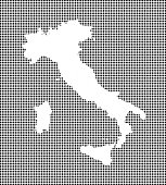 Highly detailed map of Italy on dotted background. Italy map vector outline cartography. Italy map with included provinces borders in black and white pixelated background