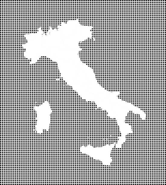 sehr detaillierte karte von italien auf gestrichelten hintergrund. italien karte vektor umriss kartographie. italien karte mit im preis inbegriffen provinzen grenzen in schwarz-weiß pixelig hintergrund - padua stock-grafiken, -clipart, -cartoons und -symbole